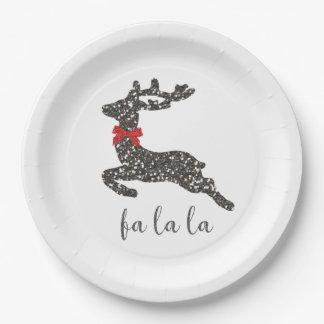 Cerfs communs de Noël dans l'arc rouge Assiettes En Papier