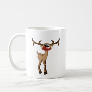 Cerfs communs mignons de bande dessinée mug blanc