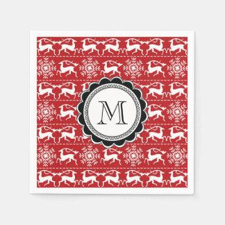 Cerfs communs traditionnels rouges et blancs de serviettes jetables