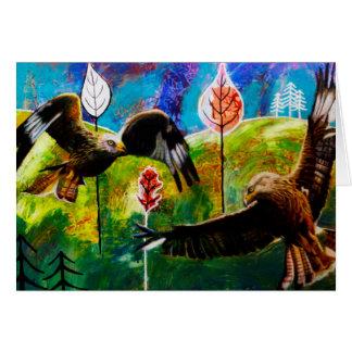 Cerfs-volants rouges de carte de voeux du Pays de