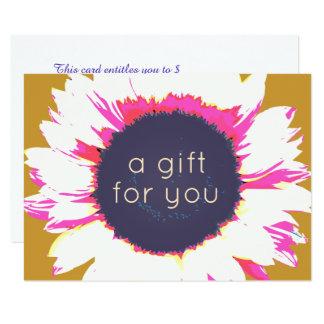 Certificat-prime floral de tournesol coloré carton d'invitation  11,43 cm x 15,87 cm