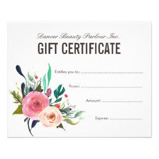 Certificat-prime floral peint de salon de beauté prospectus 11,4 cm x 14,2 cm