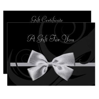 Certificat-prime noir élégant d'arc d'argent de carton d'invitation 8,89 cm x 12,70 cm