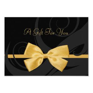 Certificat-prime noir élégant d'arc d'or de Faux Carton D'invitation 8,89 Cm X 12,70 Cm