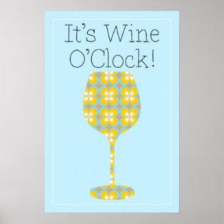 C'est heure de vin ! Affiche moderne humoristique