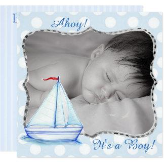 C'est un garçon, faire-part de naissance nautique