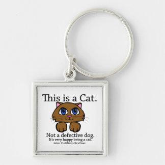 C'est un porte - clé de chat porte-clé carré argenté