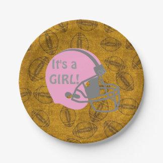 C'est une plaque à papier de baby shower de thème assiettes en papier