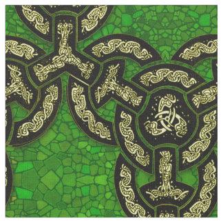 Chaîne celtique de dragon grande dans vert-foncé tissu