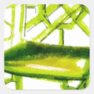 chaise de chinoiserie pour la carte d'endroit sticker carré