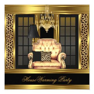 Chaise d'or de lustre de partie de pendaison de carton d'invitation  13,33 cm