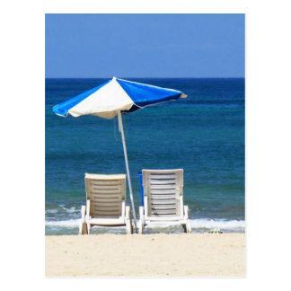 Chaises de plage carte postale