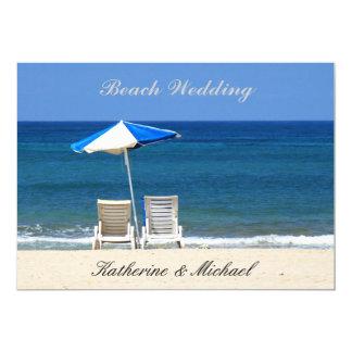 Chaises élégantes de mariage de plage carton d'invitation  12,7 cm x 17,78 cm