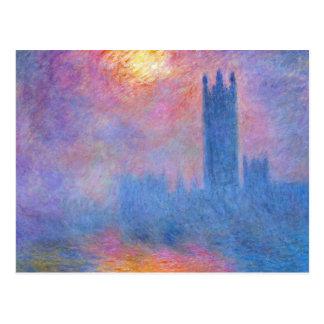 Chambres du Parlement, Londres, Sun traversant Cartes Postales