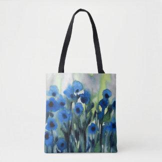 """Champ bleu aquarelle abstraite de fleurs"" Tote Bag"