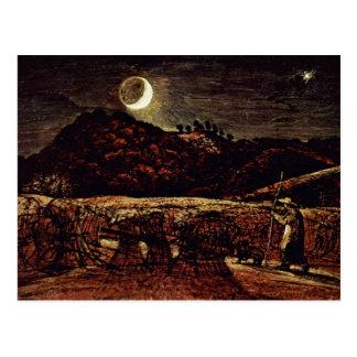 Champ de maïs dans le clair de lune par Palmer Carte Postale