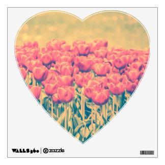 Champ rose vintage de tulipes