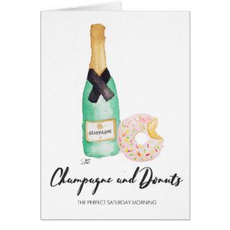 Champagne et carte d'aquarelle de butées toriques