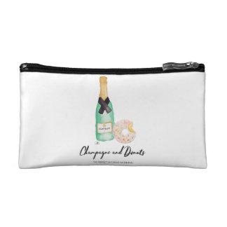 Champagne et sac de cosmétique d'aquarelle de