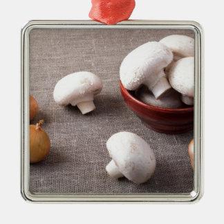 Champignons et oignons crus de champignon de paris ornement carré argenté