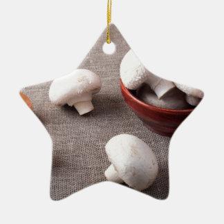 Champignons et oignons crus de champignon de paris ornement étoile en céramique