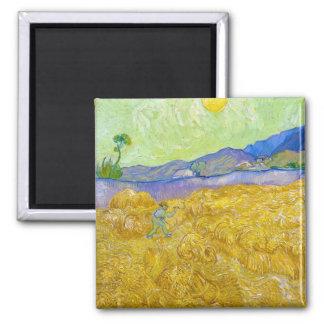 Champs de blé avec Reaper au lever de soleil Van Magnet Carré