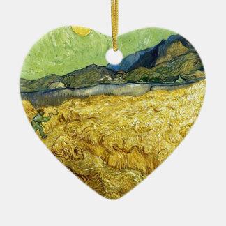 Champs de blé avec Reaper au lever de soleil - Van Ornement Cœur En Céramique