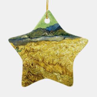 Champs de blé avec Reaper au lever de soleil - Van Ornement Étoile En Céramique