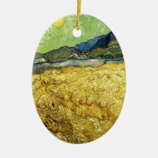 Champs de blé avec Reaper au lever de soleil - Van Ornement Ovale En Céramique