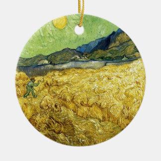 Champs de blé avec Reaper au lever de soleil - Van Ornement Rond En Céramique