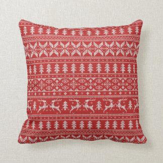 Chandail de Noël rouge et blanc Coussin