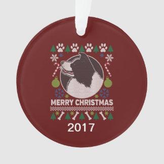 Chandail laid de Noël de border collie