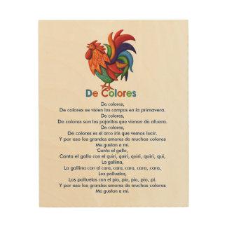"""Chanson 8"""" de De Colores Rooster"""" art en bois du"""