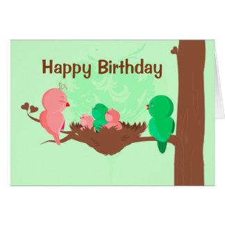 Chant d'oiseaux de carte de joyeux anniversaire
