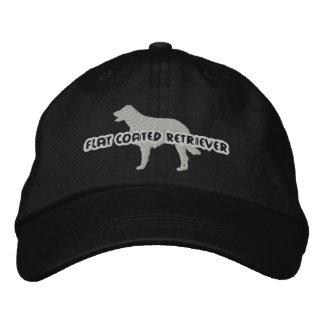 Chapeau brodé par chien d'arrêt enduit plat de sil