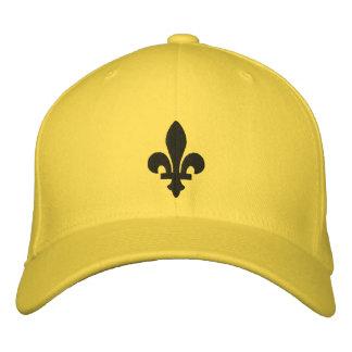 Chapeau jaune et noir de Fleur de lis Embroidered Casquette De Baseball Brodée