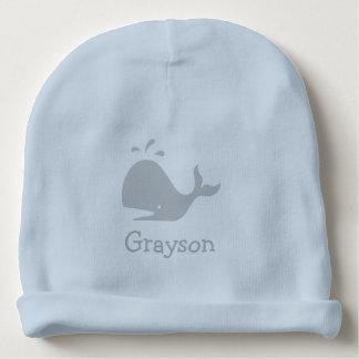 Chapeau personnalisé de bébé bleu avec le logo bonnet pour bébé