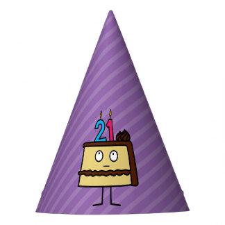 Chapeaux De Fètes 21ème Gâteau d'anniversaire avec des bougies