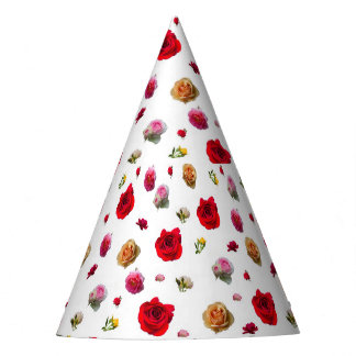 Chapeaux De Fètes collage de roses sur l'arrière - plan blanc