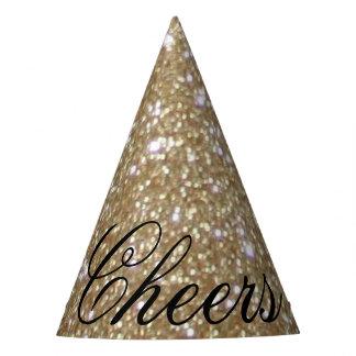 Chapeaux De Fètes Scintillement d'or d'or de lumières de Bokeh de