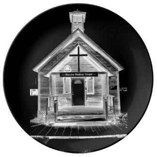 Chapelle de mariage assiette en porcelaine