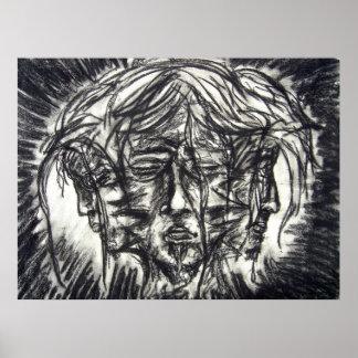 Charbon de bois noir et blanc de Goth de trois Poster
