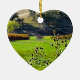 Chardons de vignoble ornement cœur en céramique