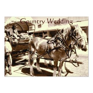 Chariot rustique de chevaux d'invitations de carton d'invitation  12,7 cm x 17,78 cm