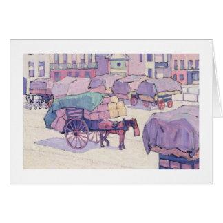 Chariots de foin, marché de Cumberland (huile sur  Carte De Vœux