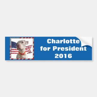 Charlotte pour le président 2016 autocollant de voiture