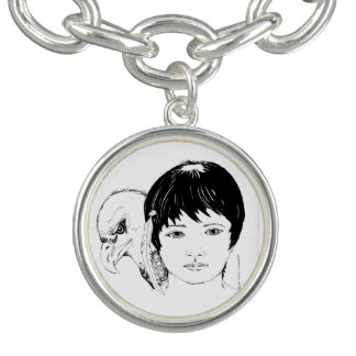Charme argenté avec l'image du garçon et de bracelets avec breloques