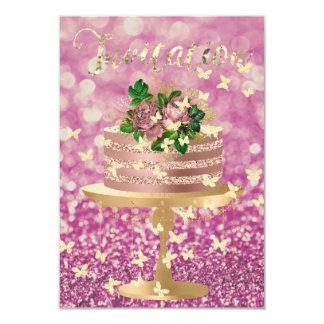 Charme de pivoine d'or de rose de rose de parties carton d'invitation 8,89 cm x 12,70 cm