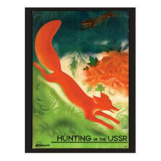 Chasse à renard vintage de carte postale de voyage