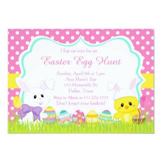 Chasse mignonne à lapin de Pâques et à oeuf de Carton D'invitation 12,7 Cm X 17,78 Cm